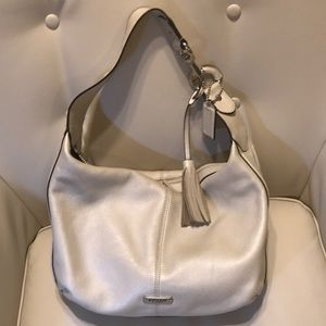 coach white leather hobo shoulder purse